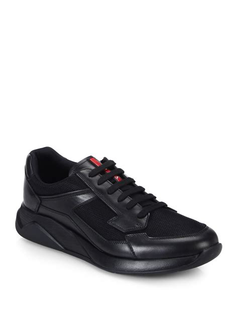 Sneakersneaker Wedgeswedgesheelskets 11 lyst prada leather running sneakers in black for