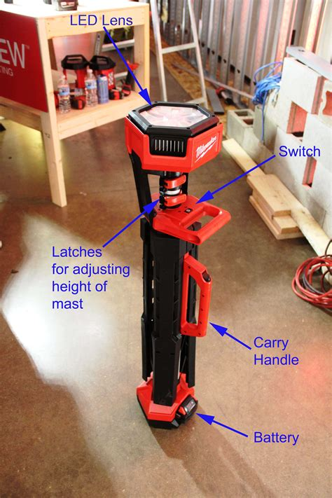 milwaukee  light stand tools   trade jobsite