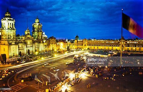zocalo night view of zocalo square mexico city at night stock photo