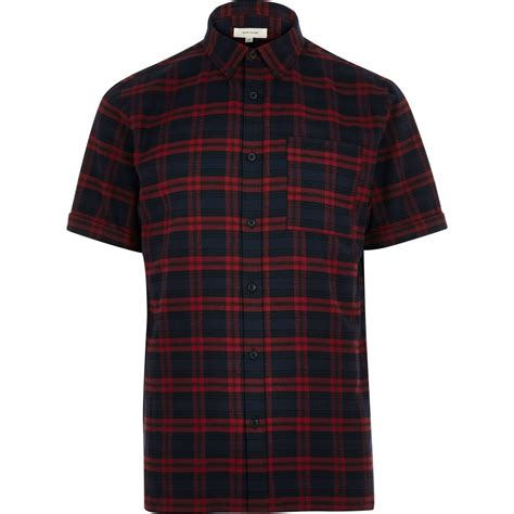 Flannel Topman Kemeja Topman Blue Patch river island navy check flannel sleeve shirt in blue
