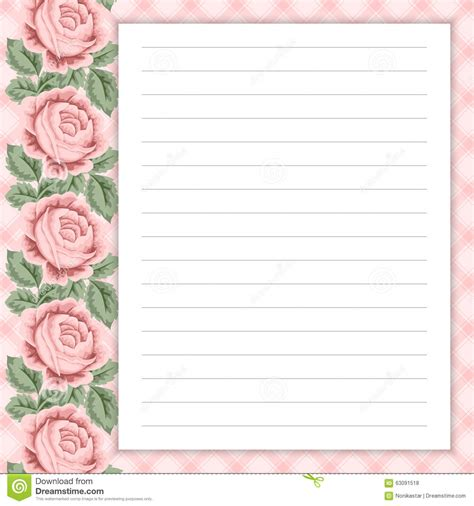 lined note cards template retro page for notes stock vector image of decorate