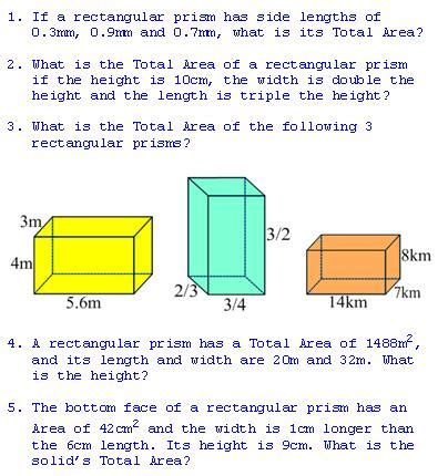 total area freemathtutoring total area of a rectangular prism exercises part of the official doug simms