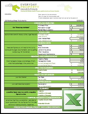 property development flow template investment property calculator excel