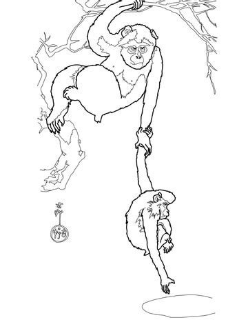 japanese macaque coloring page snow monkey with her child by ohara koson coloring page