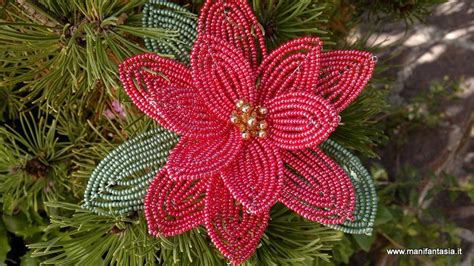 fiore con perline tutorial fiori di perline la stella di natale manifantasia