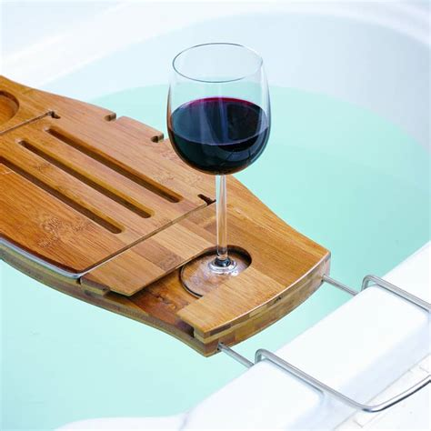 bathtub wine and book holder 5 bamboo bathtub caddies that you can buy right now