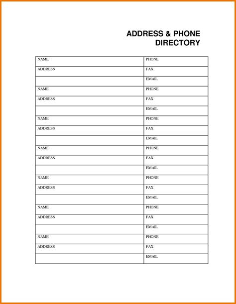 template for directory 7 phone book template itinerary template sle