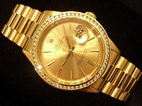 mens rolex datejust 18k yellow gold gold