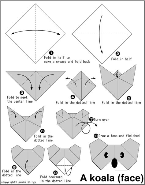 Simple Origami Printable - koala easy origami for