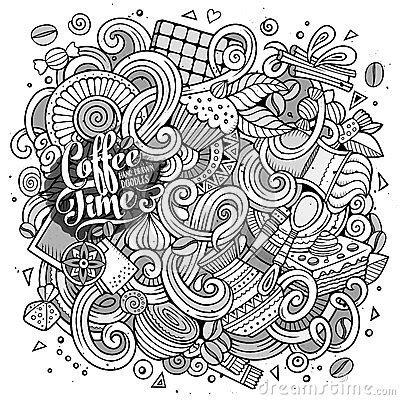 cartoon hand drawn doodles of cafe coffee shop background cartoon hand drawn doodles of cafe coffee shop background