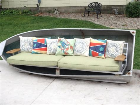 boat couch repurpose an aluminum boat into an xl sofa beach style