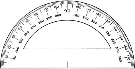 printable protractor with lines semicircular military protractor clipart etc