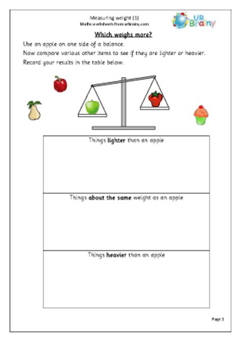 measure weight 1 measurement maths worksheets for year 1