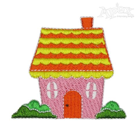 house embroidery design cottage house embroidery design