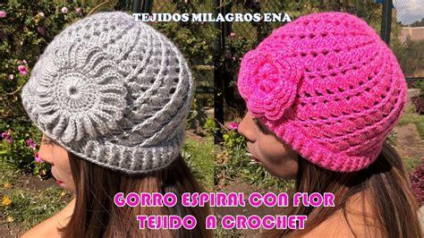 beanie o gorro tejido en crochet doovi gorro espiral con flor tejido a crochet con indicaciones