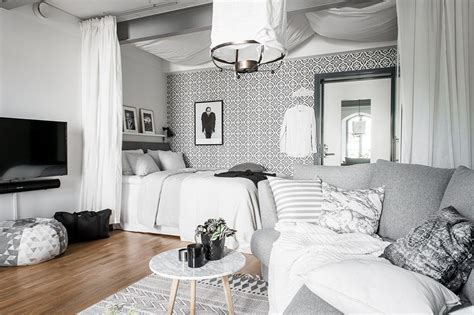 1 Bedroom Apartment Decorating by Grey And White Studio Apartment For The Home White