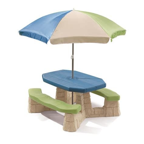 picnic table with umbrella naturally playful picnic table with umbrella step2