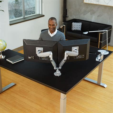 dual monitor arms for desk conform dual articulating monitor arm workrite ergonomics