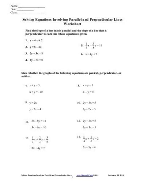Slopes Of Parallel And Perpendicular Lines Worksheet Answers by Worksheets Parallel And Perpendicular Lines Worksheet