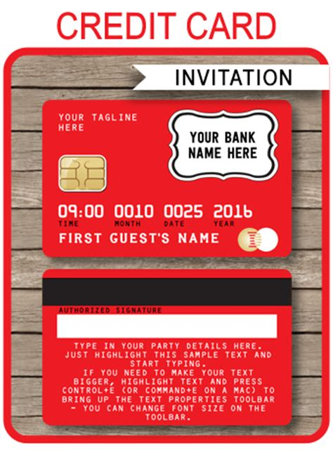 Editable Credit Card Template by Credit Card Invitations Mall Scavenger Hunt Invitations