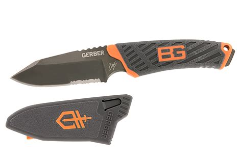 Gerber Grylls Compact Fixed Blade 7cr17mov Black Combo Edge 31 00 gerber grylls compact fixed blade serrated edge w sheath 31 001066