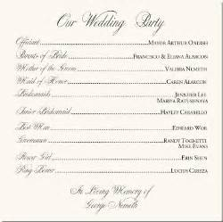 Wedding program wording examples marriage ceremony wording kill