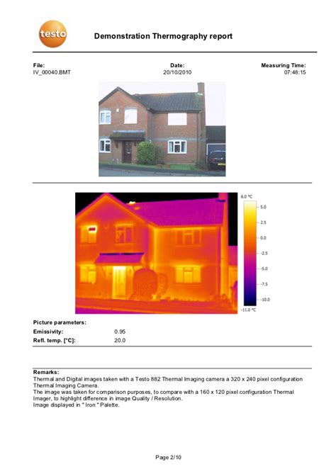 fliese 240 x 120 demonstration thermography report comparison between 320 x