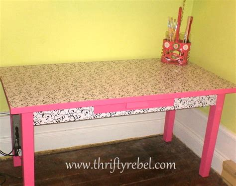 contact paper desk makeover craft room desk makeover thrifty rebel vintage