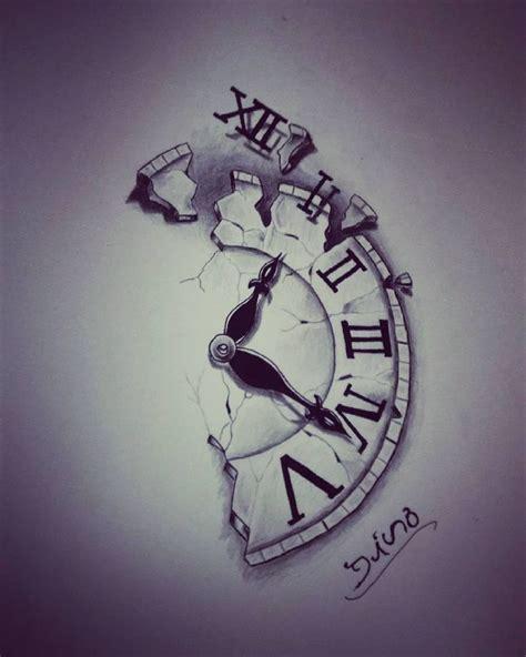 broken clock tattoo broken clock montre pictures to pin on tattooskid