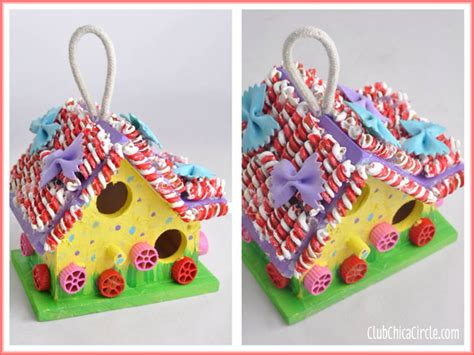 pasta crafts for painted pasta gingerbread birdhouse craft idea