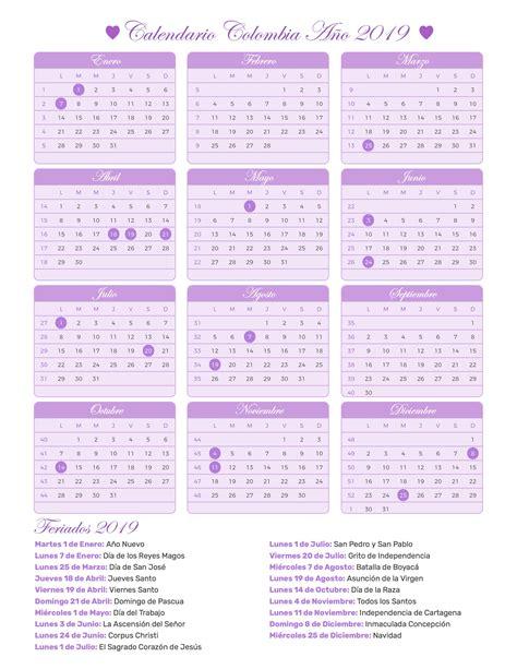Calendario 2019 Colombia Festivos Calendario Colombia A 241 O 2019 Feriados