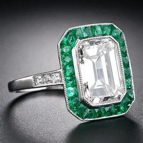 deco emerald cut ring emerald cut ring w emerald halo deco weddings