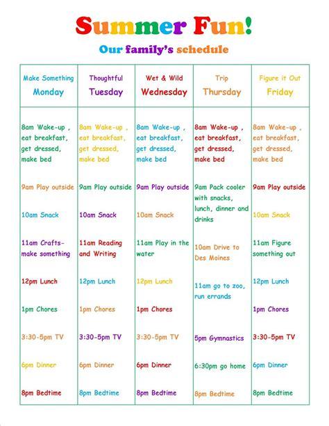 summer c schedule template lavender honey pinteresting summer part 2