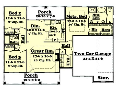 southern style house plan 3 beds 2 baths 1500 sq ft plan 1500 sq ft house plans simple house plans with great room