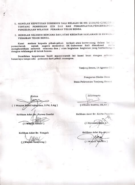 hasil keputusan rapat sabha desa desa adat tanjung benoa menolak