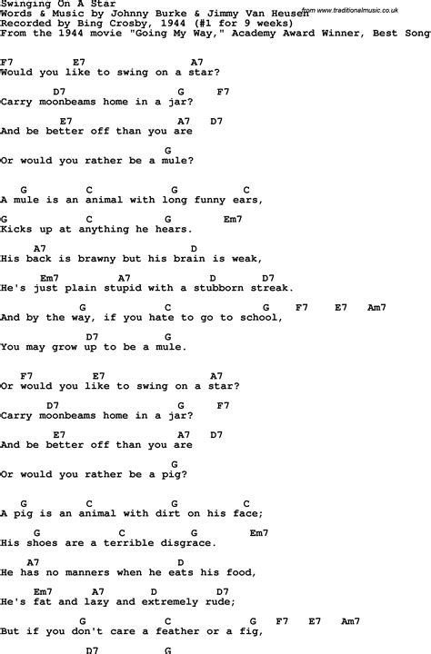 guitar lyrics song lyrics with guitar chords for swingin on a