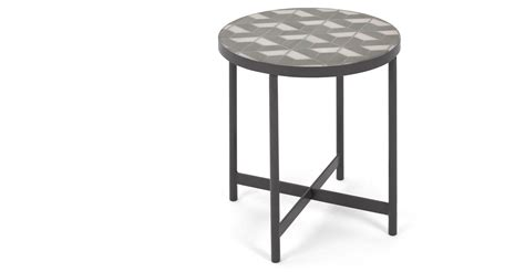 White Marble Side Table by Indra Side Table Grey And White Marble Made