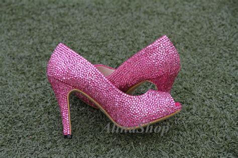 pink crystals wedding shoes open toe heels pink