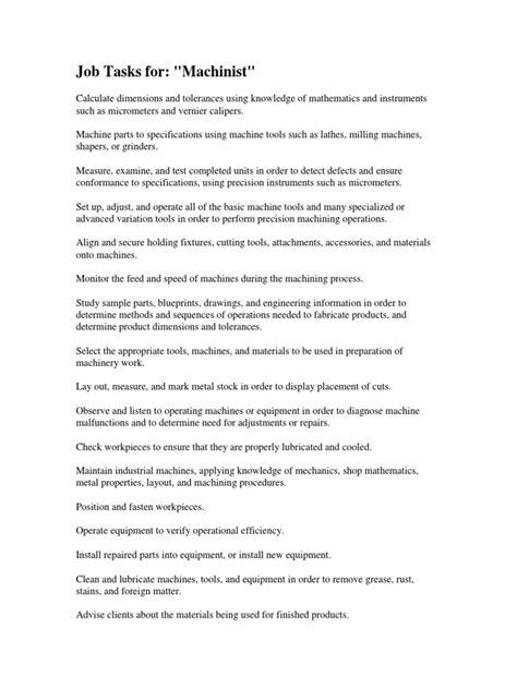 Machinist Duties by 100 Clean Room Operator Description Cleaning Description Resume Cleaning