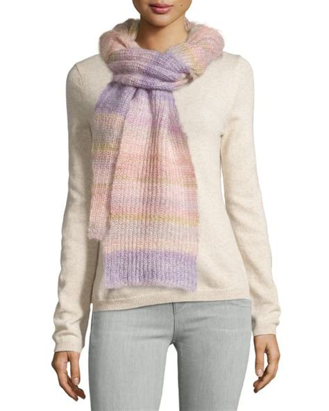 michael kors striped shaker scarf in pink thistle save 66 lyst