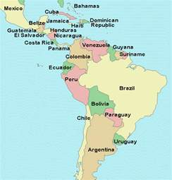 map of south america and central america