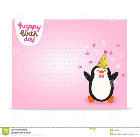 Penguin Card Template by Happy Birthday Card Background With Penguin Stock