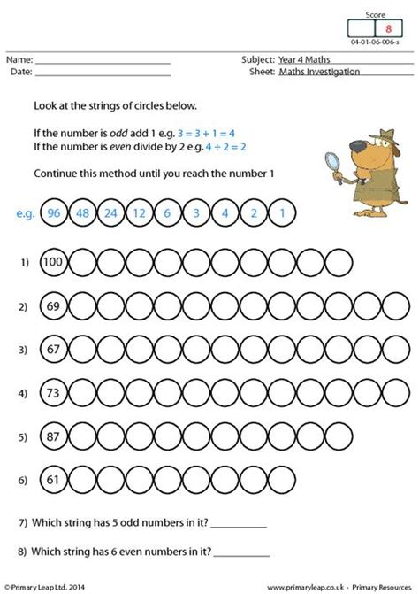String Worksheets - primaryleap co uk investigation 6 number strings worksheet