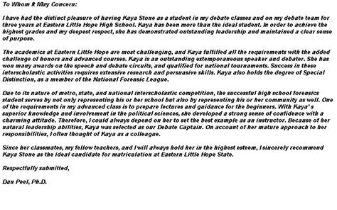Recommendation Letter Questbridge letter of recommendation for application to college
