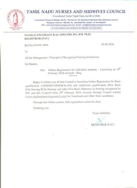 appointment letter proforma tamil nadu nurses midwives council