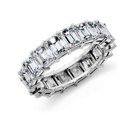 emerald cut eternity ring in platinum 7 40 ct tw