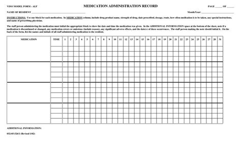 mar template nursing printable medication administration record name of