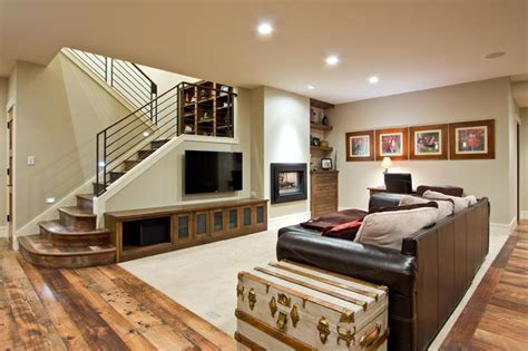 20 Incredible Finished Basements with Hardwood Flooring