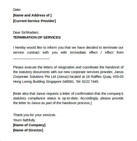 Exle Letter For Service Sle Termination Letters 8 Termination Of Services