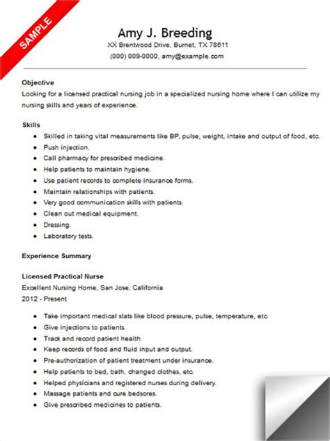 Lpn Nursing Resume Objective Exles Licensed Practical Resume Sle